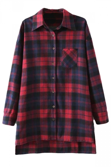 Red Ladies Classic Fashion Plaid Casual High Low Blouse