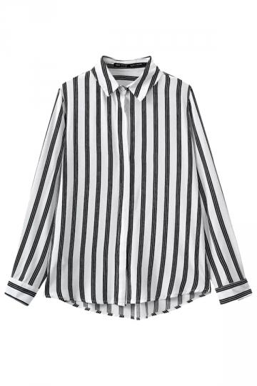 Black Pretty Womens Cotton Stripe Long Sleeve Blouse