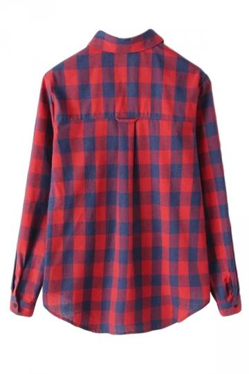 Red Pretty Ladies Long Sleeve Pocket Plaid Blouse