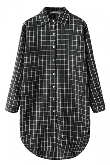 Black Pretty Ladies Long Sleeve Plaid Long Blouse