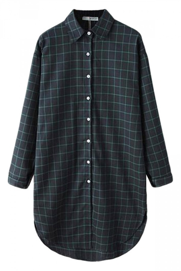 Green Pretty Ladies Long Sleeve Plaid Long Blouse