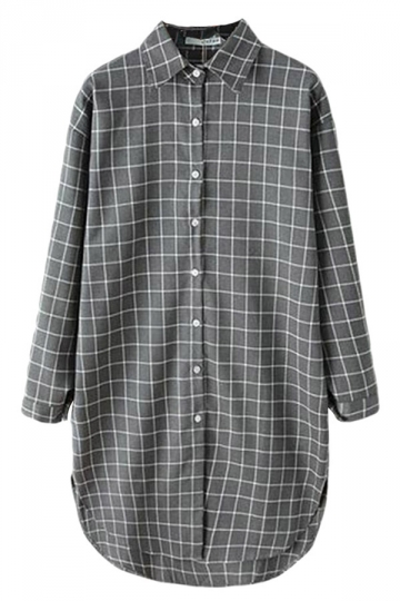 Gray Pretty Ladies Long Sleeve Plaid Long Blouse