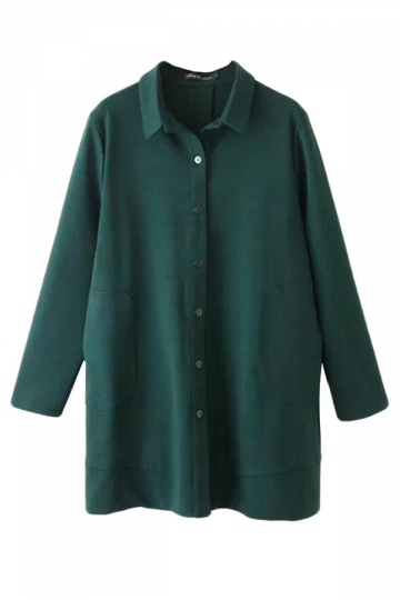 Green Trendy Womens Long Sleeve Plain Pocket Long Blouse