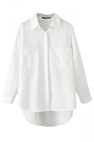 White Charming Womens Plain Pockets Long Sleeve Blouse