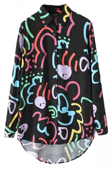 Black Chic Ladies Long Sleeve Colorful Printed High Low Blouse