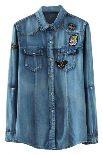 Blue Modern Ladies Long Sleeve Badge Decorated Denim Blouse