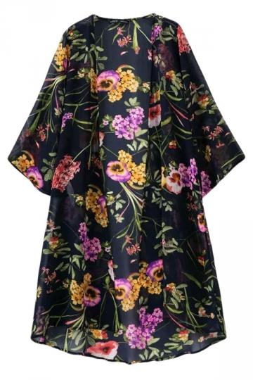 Black Charming Ladies Vintage Floral Printed Kimono