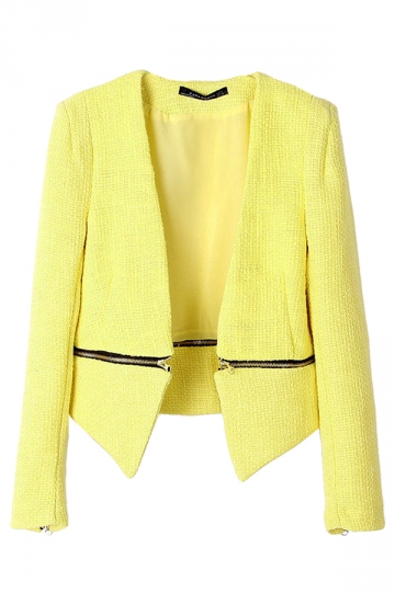 Yellow Sexy Womens Plain Removable Suit Cotton Blazer