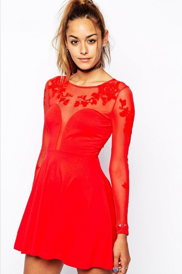 Red Chic Ladies Boat Neck Lace Sheer Plain Skater Dress