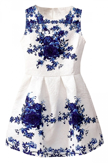 White Winter Ladies Sleeveless Retro Flowers Skater Dress