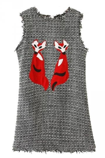 Gray Ladies Winter Foxes Pattern Sleeveless Chic Tank Dress