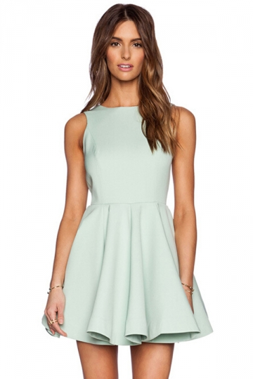 Turquoise Womens Sleeveless Boat Neck Plain Cut Out Skater Dress