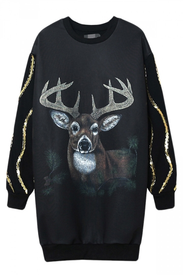 Black Womens Lined Jumper Reindeer Printed Sweatshirt Dress