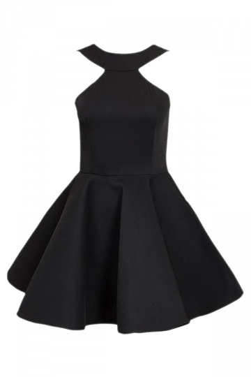Black Pretty Womens Halter Sleeveless Skater Dress
