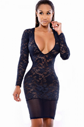 Navy Blue Sexy Ladies V Neck Lace See Through Clubwear