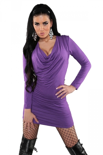 Purple Pretty Ladies V-neck Backless Jewel Clubwear Dress