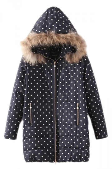Navy Blue Chic Womens Polka Dot Warm Fur Hooded Down Coat