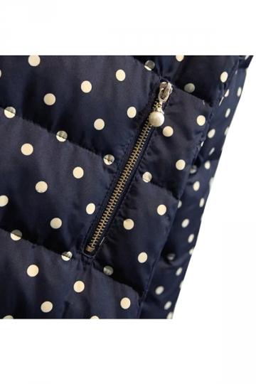 Navy Blue Chic Womens Polka Dot Warm Fur Hooded Down Coat