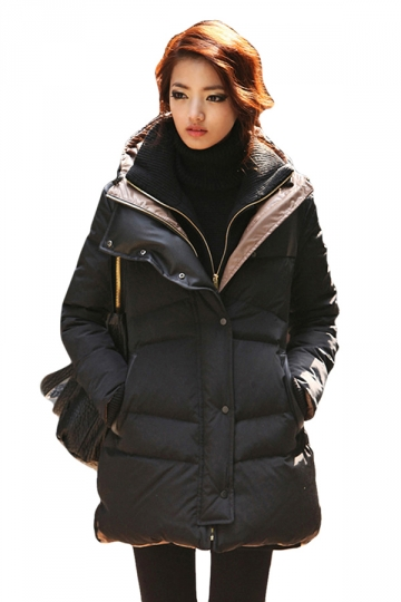 Black Ladies Long Warm Winter Plain Fashion Down Coat