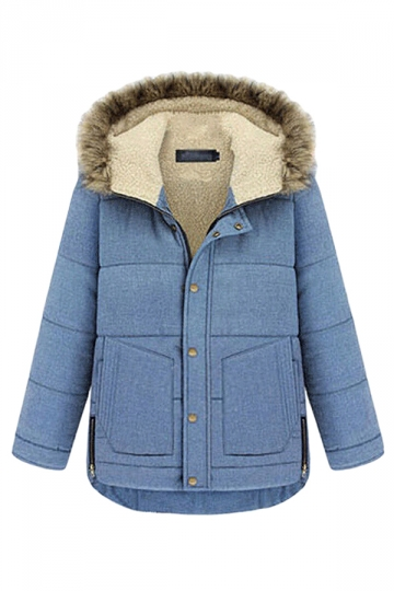 Blue Quilted Womens Vintage Warm Winter Thick Car Coat