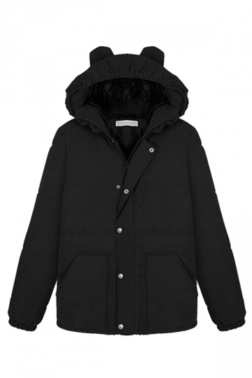 Black Chic Womens Cat Ear Hooded Plain Quilted Car Coat