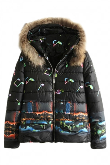 Black Womens City Note Printed Fur Hooded Quilted Car Coat