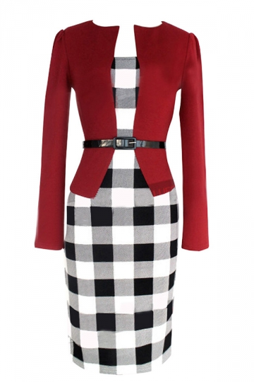 Red Trendy Womens False Two Piece Plaid Long Sleeve Dress