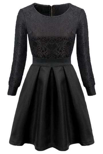 Black Elegant Womens Vintage Floral Slim Crew Neck Skater Dress