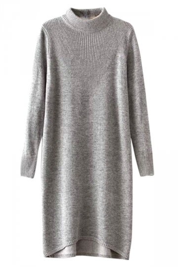 Gray Womens Retro High Neck Modest Loose Sweater Dress