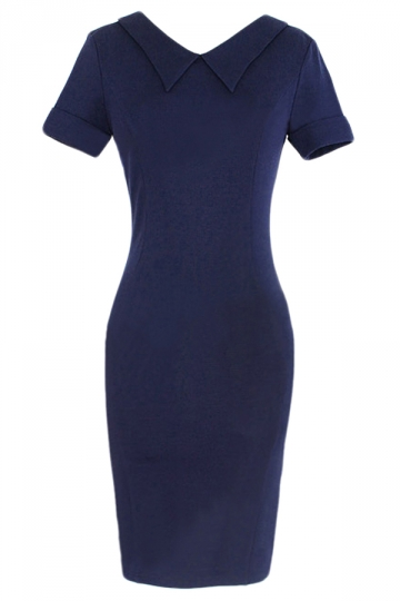 Navy Blue Doll Collar Plain Short Sleeve Plain Midi Dress
