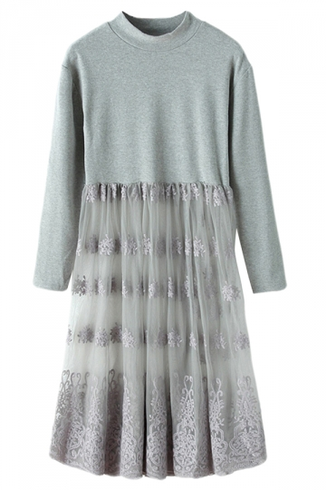 Gray Ladies Crew Neck Patchwork Lace Sheer Pleated Midi Dress