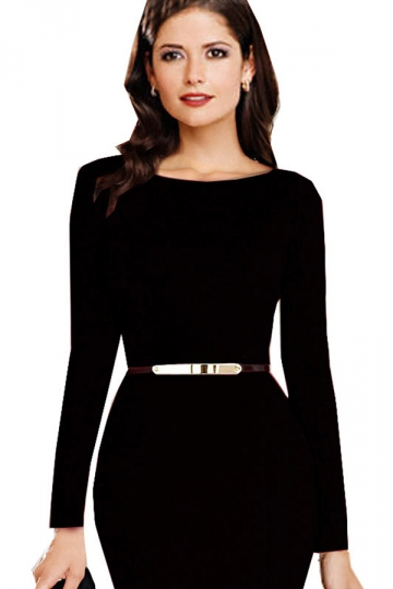 Black Trendy Ladies Long Sleeve Crew Neck Mermaid Midi Dress ...