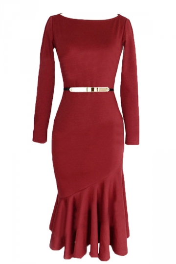 Ruby Trendy Ladies Long Sleeve Crew Neck Mermaid Midi Dress