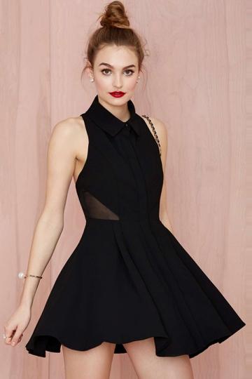 Black Pretty Ladies Mesh Patchwork Halter Cut Out Shirt Dress