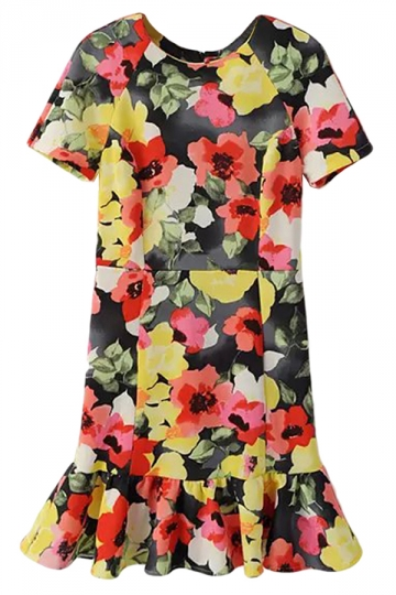 Ladies Crew Neck Short Sleeve Fishtail Ruffle Floral Midi Dress