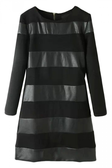 Black Womens Crew Neck Patchwork Leather Long Sleeve Dress