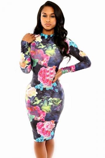 Black Vintage Flowers Printed Las Long Sleeves Bodycon Dress