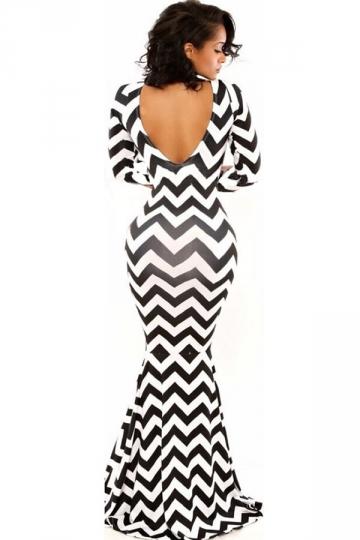 Black Womens Wavy Mermaid Backless Bodycon Maxi Dress