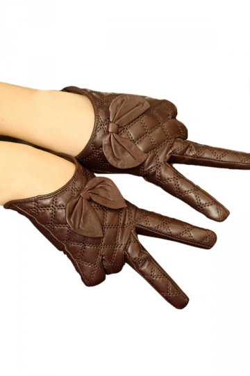 Brown Womens Winter Warm Short Cute Bow Leather Gloves