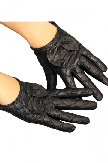 Navy Blue Womens Winter Warm Short Cute Bow Leather Gloves