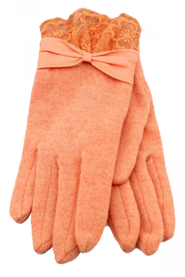 Orange Ladies Bow Elegant Warm Winter Lace Gloves