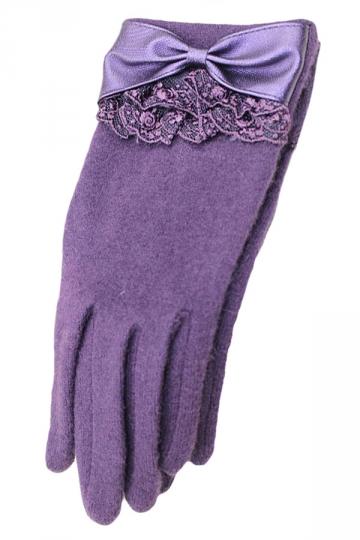 Purple Ladies Bow Elegant Warm Winter Lace Gloves