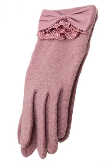 Pink Ladies Bow Elegant Warm Winter Lace Gloves