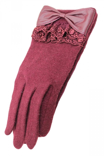 Ruby Ladies Bow Elegant Warm Winter Lace Gloves