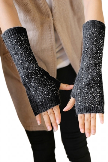 Black Ladies Mitten Rhinestone Below Elbow Knitted Winter Gloves