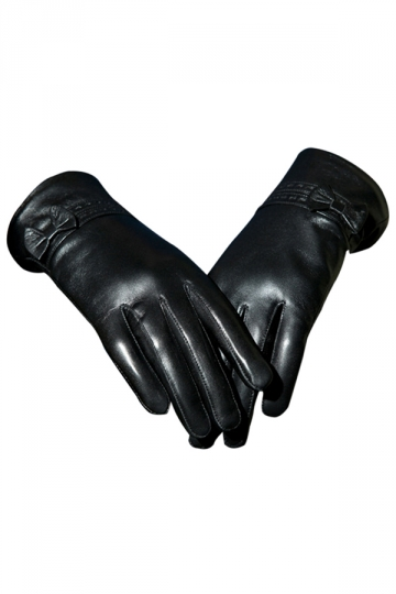 Black Pretty Ladies Bow Short Winter Warm Leather Gloves