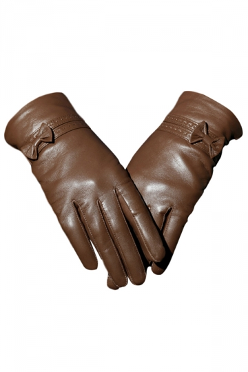 Khaki Pretty Ladies Bow Short Winter Warm Leather Gloves