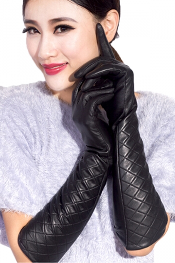 Black Sexy Womens Thick Leather Below Elbow Winter Gloves