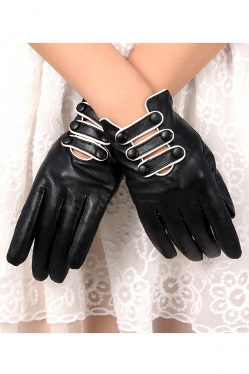Black Pretty Ladies Thick Lined Warm Winter Short Gloves