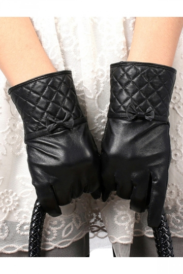 Black Trendy Womens Thick Lined Bow Leather Winter Short Gloves